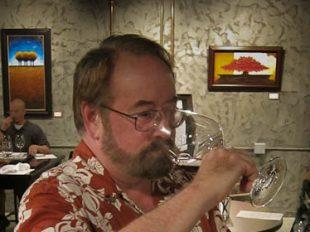 Tony Sniffs Cabernet aroma at Steve Kent Winery