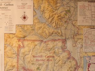 Map of the Yamhill Carlton AVA, Mcminville, Oregon