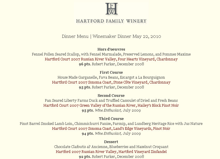 Hartford Dinner Menu