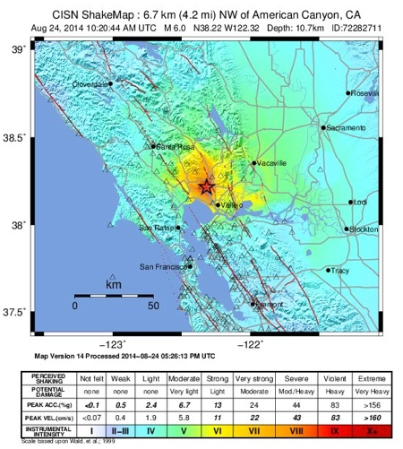 Napa Quake USGS Shake Map