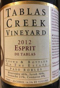 Tablas Creek 2012 Esprit de Tablas